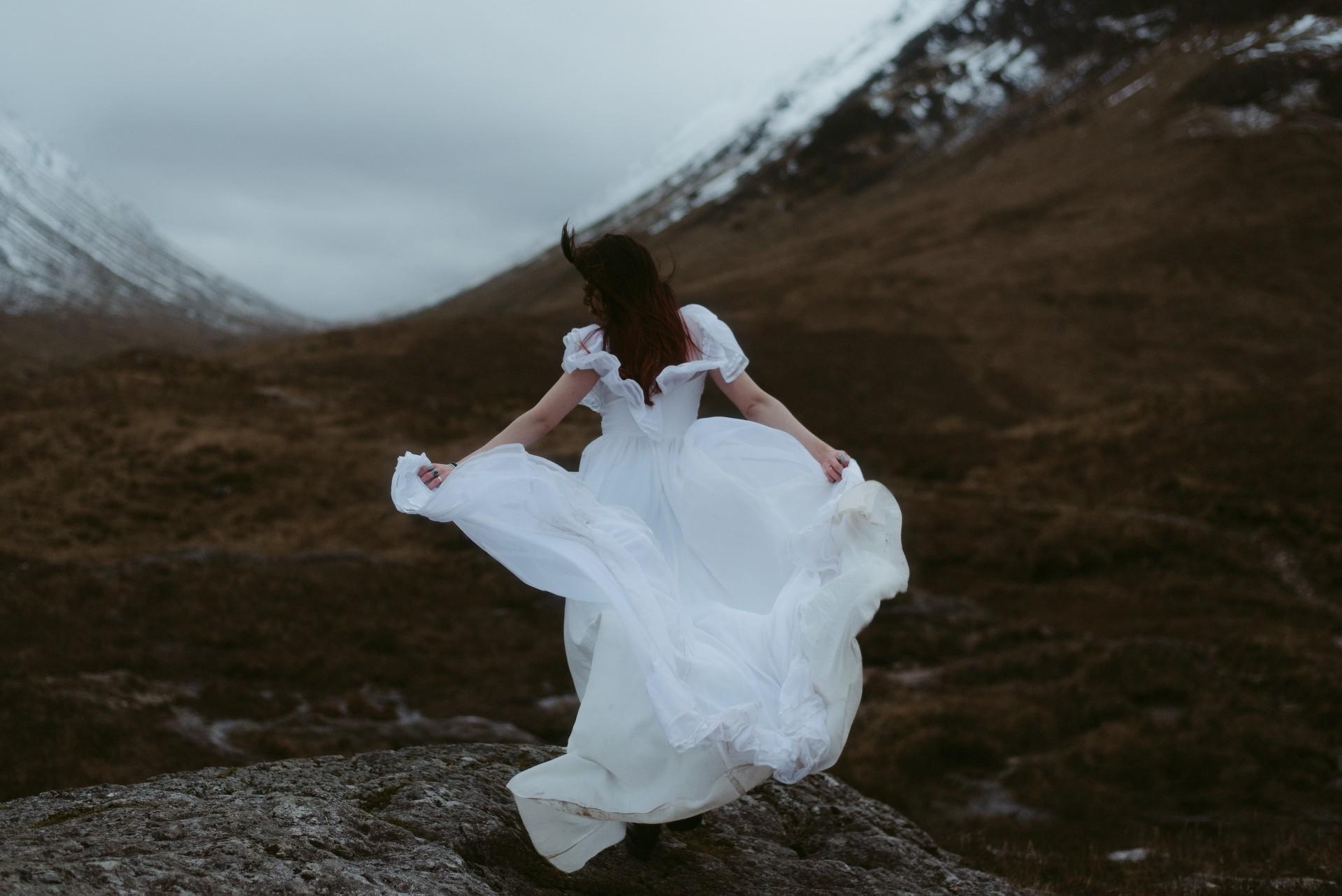 Glencoe Elopement Bride Dress Scotland Photographer
