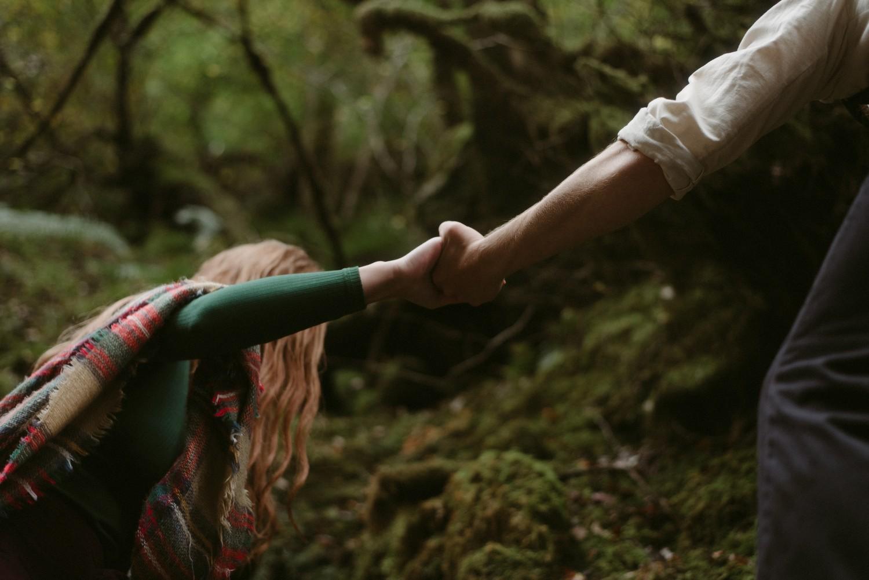 Engagement photographer Glencoe Scotland Elopement Wedding Grey Mare's Waterfall _Chloe & Caleb-63