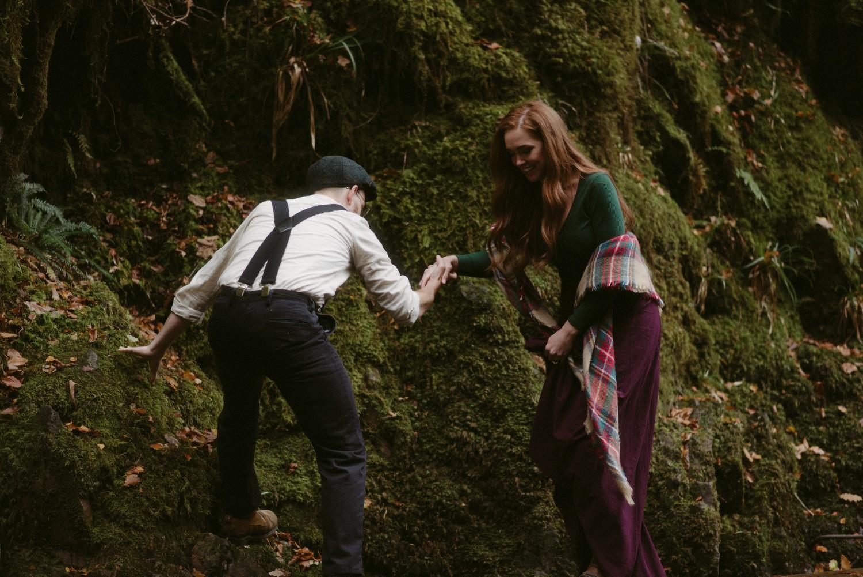 Engagement photographer Glencoe Scotland Elopement Wedding Grey Mare's Waterfall _Chloe & Caleb-81